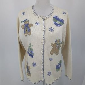 Croft Barrow M Cardigan Sweater Button Up Ivory